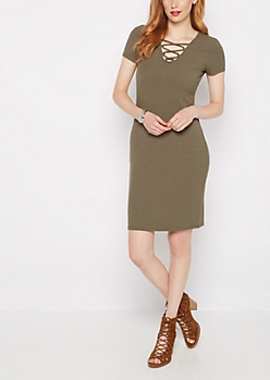 Olive Lattice Neck Midi Dress