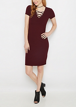 Plum Lattice Neck Midi Dress