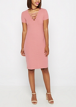Dusty Pink Lattice Neck Midi Dress