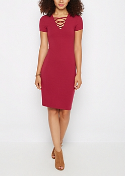 Burgundy Lattice Neck Midi Dress