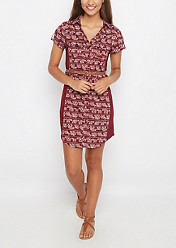 Bohemian Rib Paneled Shirt Dress