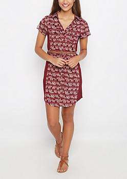 Bohemian Rib Paneled Shirt Dress