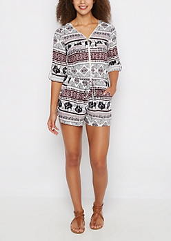 Tribal Elephant Zip-Down Romper