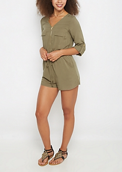 Light Olive Zip-Down Romper