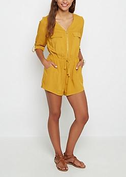 Mustard Zip-Down Romper