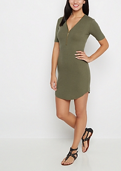 Olive Ribbed Zip-Yoke Bodycon Dress