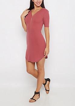 Dark Pink Ribbed Zip-Yoke Bodycon Dress