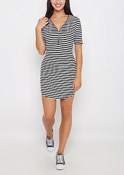 Black Striped Zip-Yoke Bodycon Dress