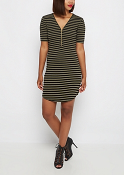 Olive Striped Zip-Yoke Bodycon Dress