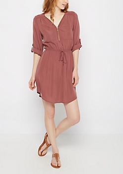 Mauve Relaxed Shirt Dress
