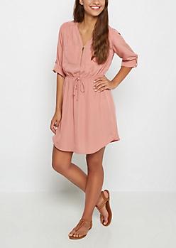 Pink Relaxed Shirt Dress
