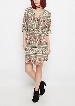 Folklore Elephant Challis Shirt Dress