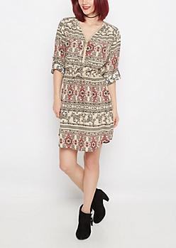 Folklore Elephant Challis Shirt Dress