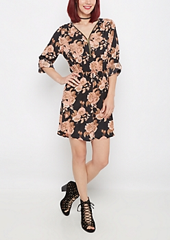 Pink Rose Challis Shirt Dress