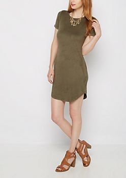 Olive Green Faux Suede Mini Dress