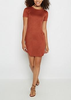 Burnt Orange Faux Suede Mini Dress