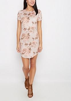 Rosy Faux Suede Mini Dress