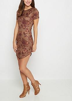 Bronze Rosy Faux Suede Mini Dress