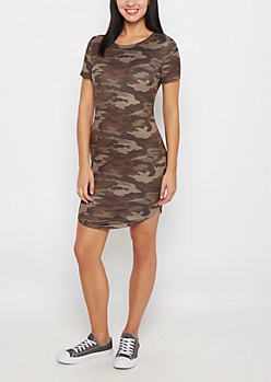 Camo Faux Suede Mini Dress