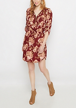 Rosy Zip Challis Shirt Dress