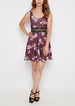Rose Strappy Illusion Skater Dress