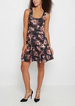 Black Floral Scuba Skater Dress