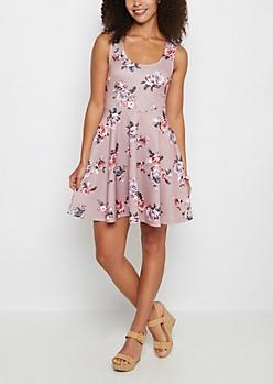 Pink Floral Scuba Skater Dress