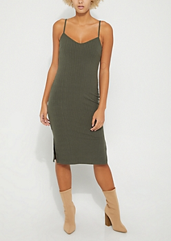 Olive Ribbed Cami Midi Dress