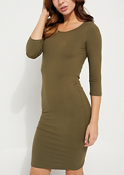 Olive Lattice Back Midi Dress