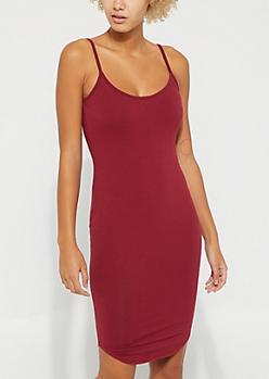 Burgundy Scoop Neck Cami Dress