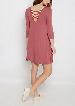 Dusty Pink Lattice Back Swing Dress