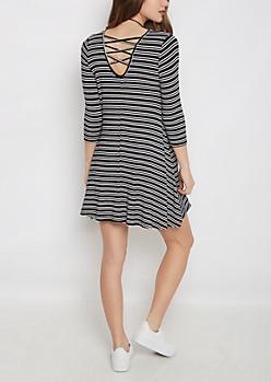 Striped Lattice Back Swing Dress