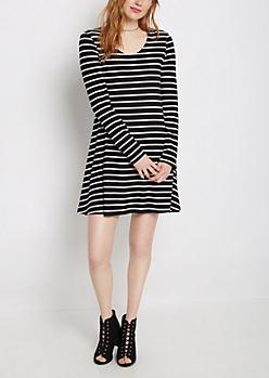 Black Striped Brushed Swing Dress