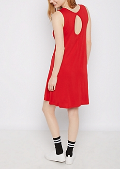 Red Keyhole Back Swing Dress