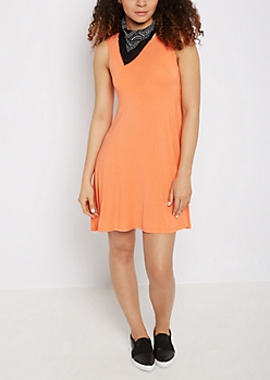 Coral Keyhole Back Swing Dress
