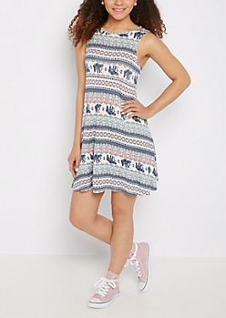 Elephant Boho Keyhole Back Swing Dress