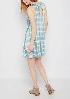 Tie Dye Keyhole Back Swing Dress