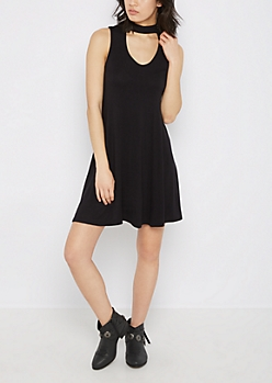 Black Cutout High Neck Swing Dress