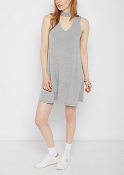 Gray Cutout High Neck Swing Dress