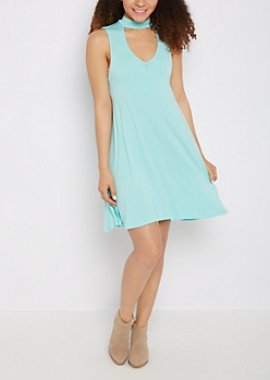 Light Blue Cutout High Neck Swing Dress