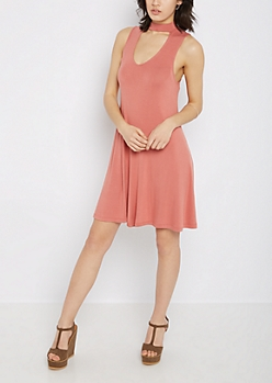 Dusty Pink Cutout High Neck Swing Dress