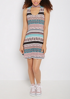 Paisley Folklore Keyhole Swing Dress