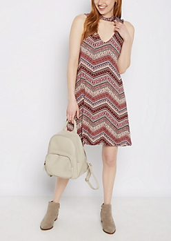 Folklore Chevron Keyhole Swing Dress