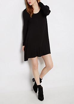 Black Brushed Swing Dress