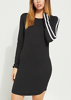 Black Varsity Striped Sleeve Dress