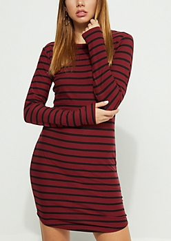 Burgundy Pencil Striped Shirt Dress