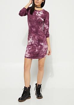 Purple Crystal Wash Shirt Dress