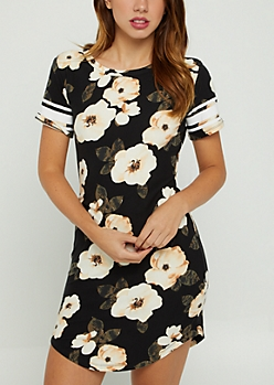 Black Floral Athletic Stripe T Shirt Dress