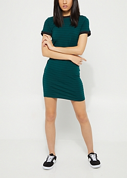 Teal Pencil Striped Ringer T Shirt Dress