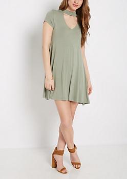 Olive Keyhole Swing Dress
